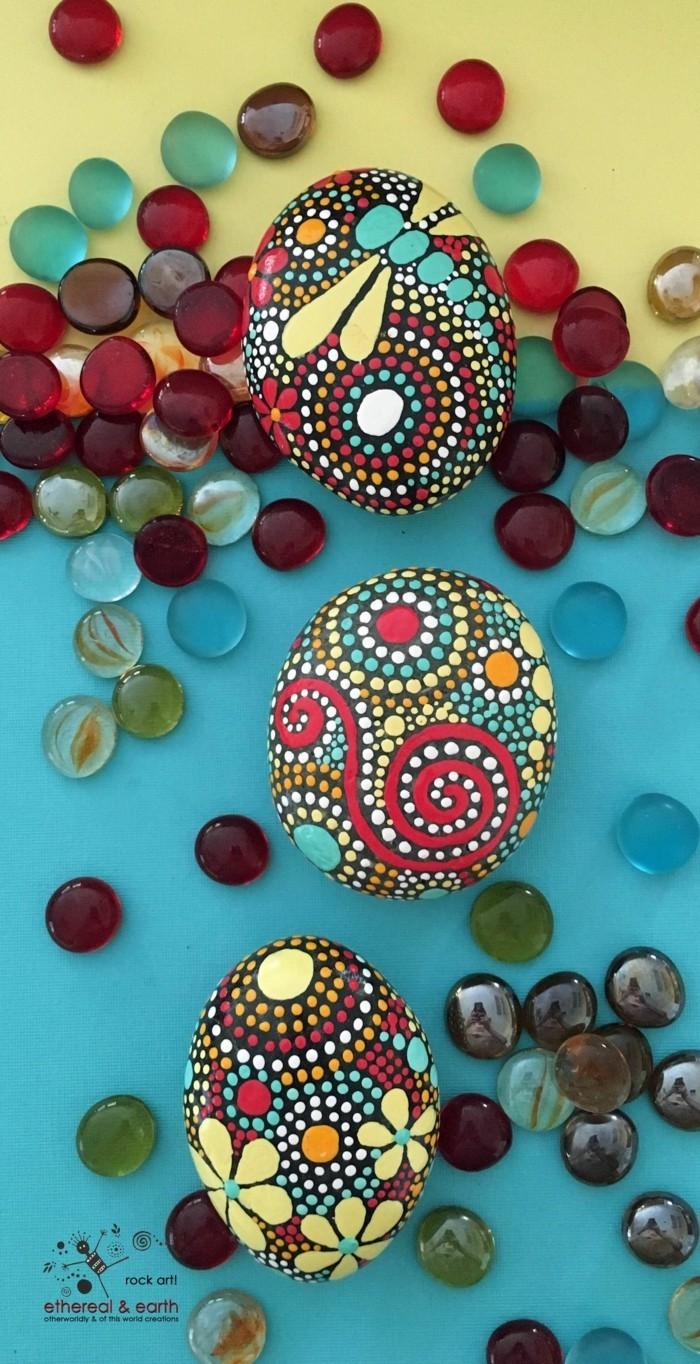 manala muster steine bemalen farbschema
