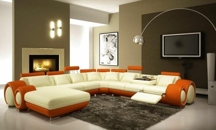 organge und weißn designer sofa