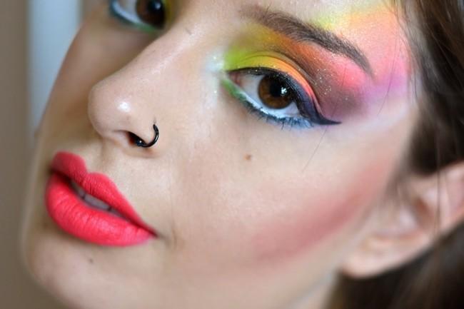 regenbogen schminken fasching make up ideen
