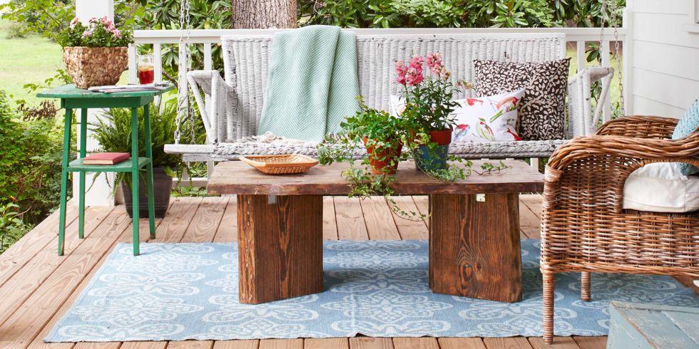 rustikale deko gartenmöbel grüner beistelltisch frischer teppich