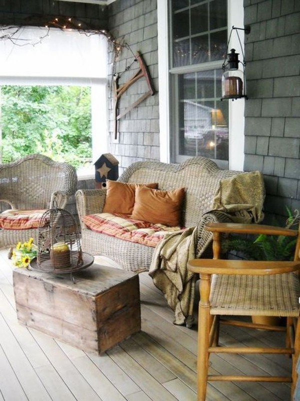 rustikale deko gartenmöbel pflanzen terrasse gestalten