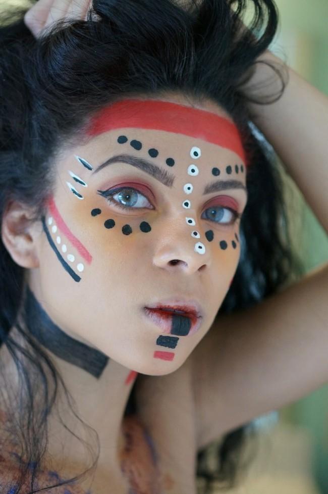 schminken fasching schminkidee indianerin prinzessin