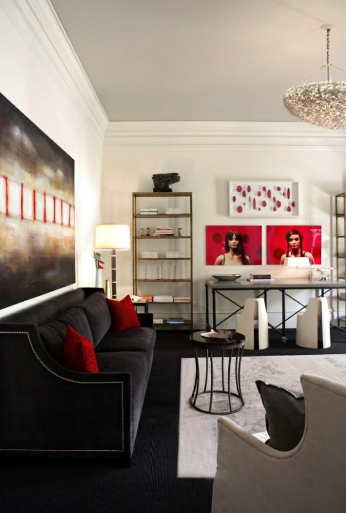 schwarze designer sofa idee