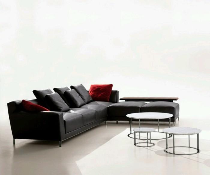 schwarzes designer sofa dekokissen