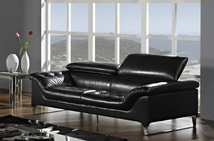 super elegantes designer sofa in schwarzem leder