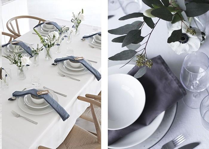 tisch dekorieren farbkontrast graue servietten
