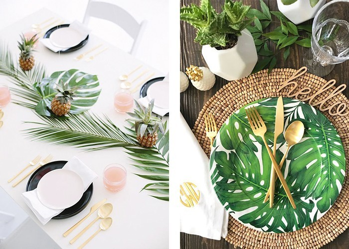 tisch dekorieren frische akzente pflanzen florale muster