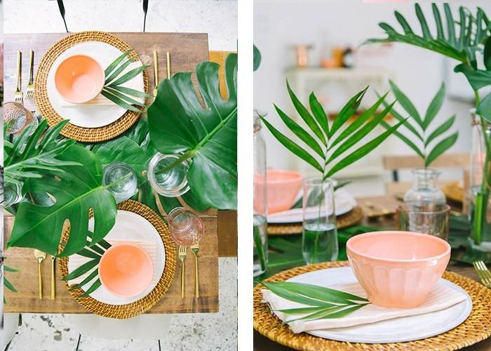 tisch dekorieren geschirr pfirsichfarbe exotische elemente