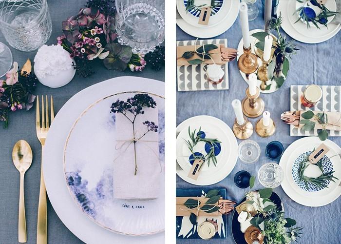 tisch dekorieren graue tischdecke weißes geschirr