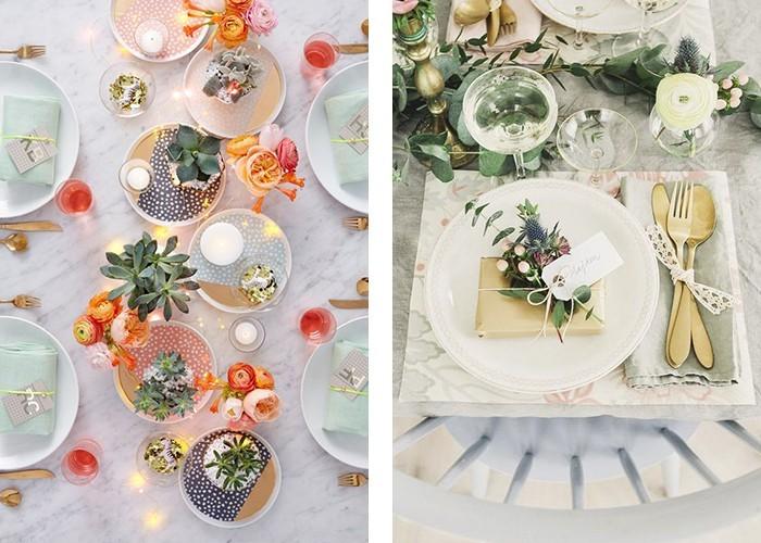 tisch dekorieren romantische ideen helle farben
