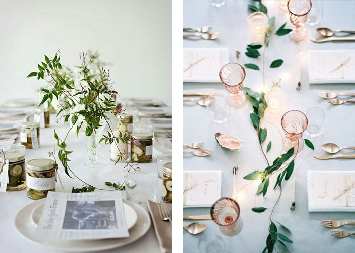 tisch dekorieren weiß grün kombinieren