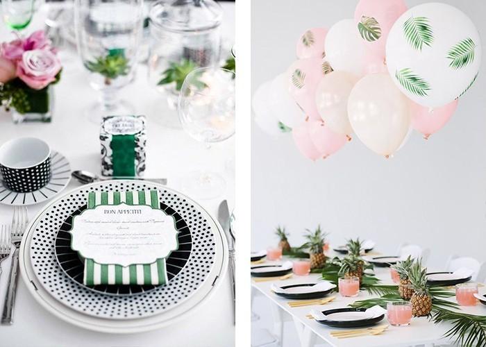tisch dekorieren weiße tischdecke frische grüne akzente