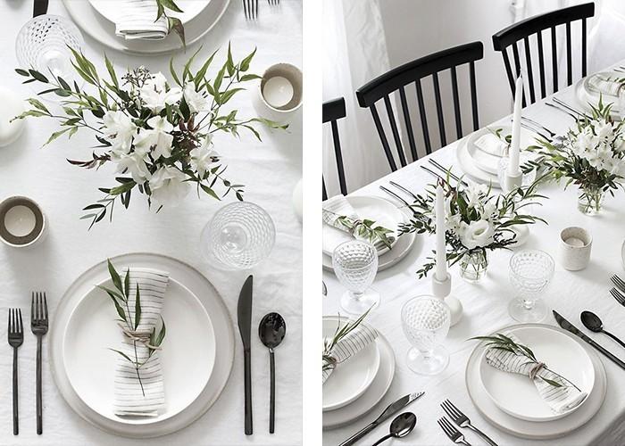 tisch dekorieren weiße tischdecke pflanzen frisch