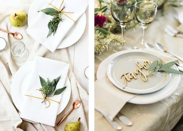 tisch dekorieren weiße tischdecken grüne blätter