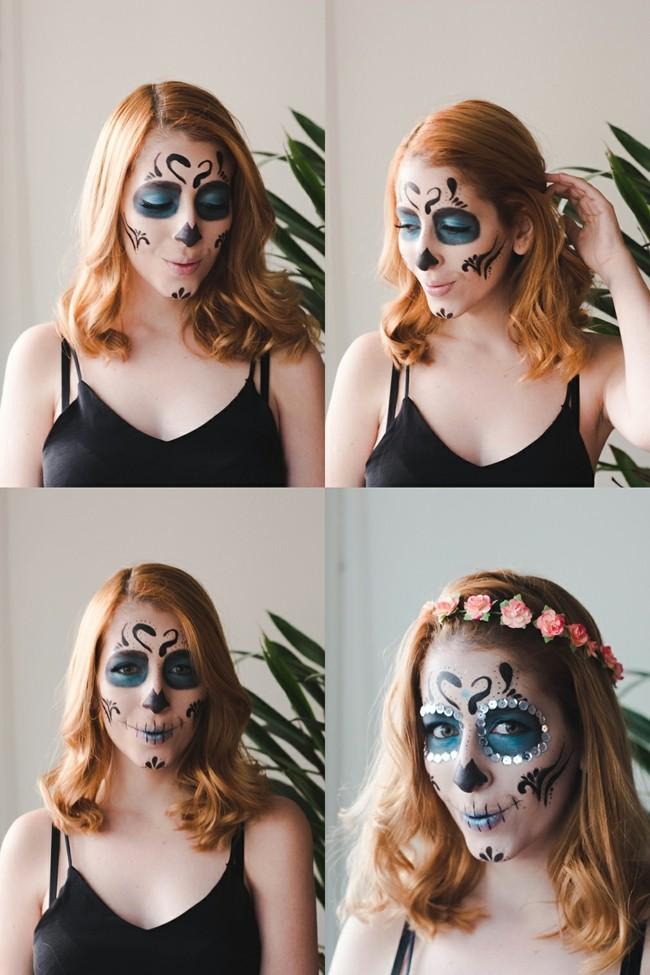totenkopf schminken fasching ideen make up karneval