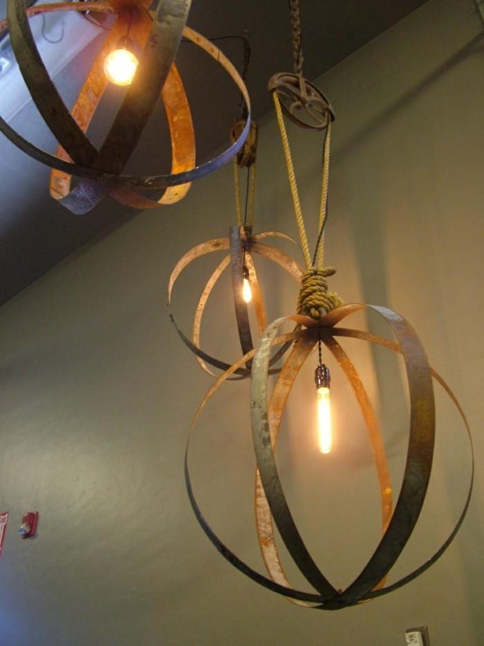 upcycling ideen diy lampen nachttisch lampe rund