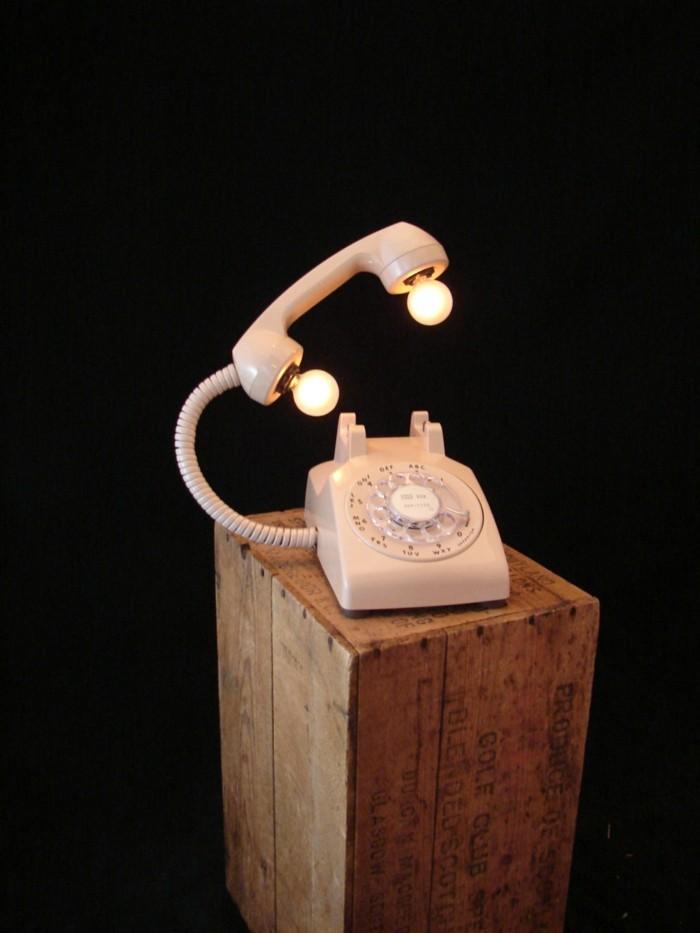 upcycling ideen diy lampenschirm festnetz telefon
