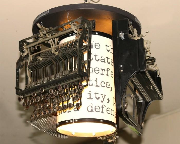 upcycling ideen diy lampenschirm schreibmaschine