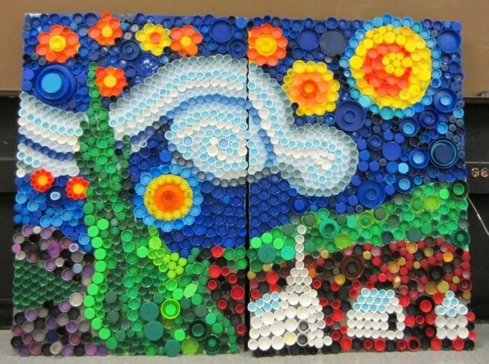upcycling ideen zum selber machen basteln mit plastikdeckeln