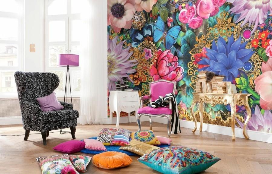 wandtapete wohnzimmer fototapete blumenmuster farbige bodenkissen