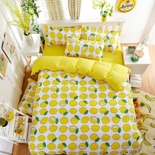zitrone im schlafzimmer bettwäsche