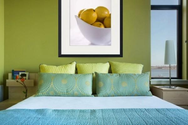 zitrone im schlafzimmer wanddeko bild