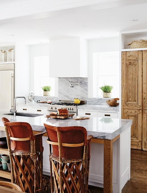Holz Marmorplatte Kücheninsel