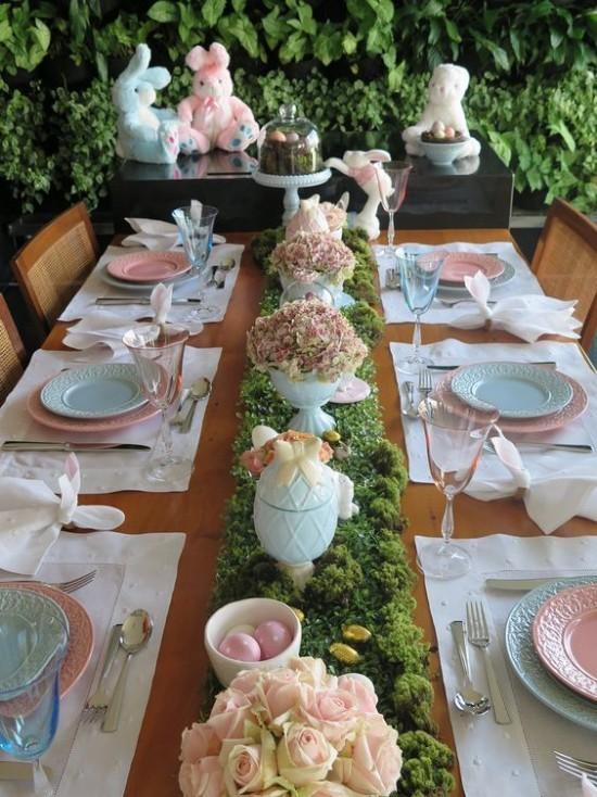 Schöne stilvolle Tischdeko Osterbrunch