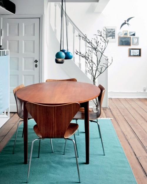 Skandinavisches Design Blauer Teppich