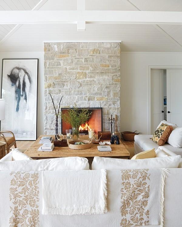 Weiß Holz Steinwand