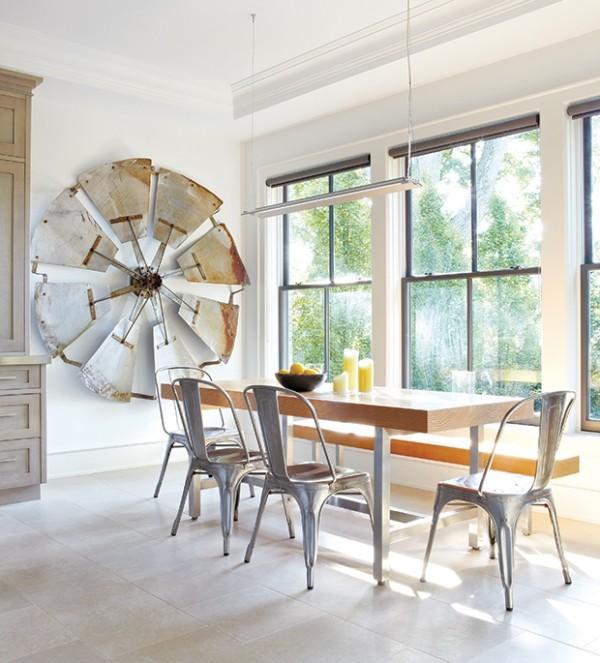 Weiß rustikaler Charakter Raumgestaltung Esszimmer