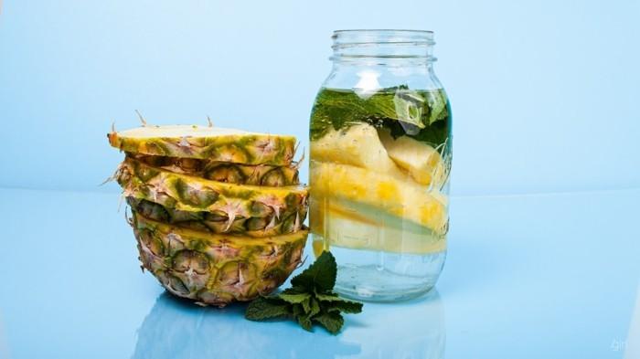 ananas basilikum minze detox wasser heilfasten