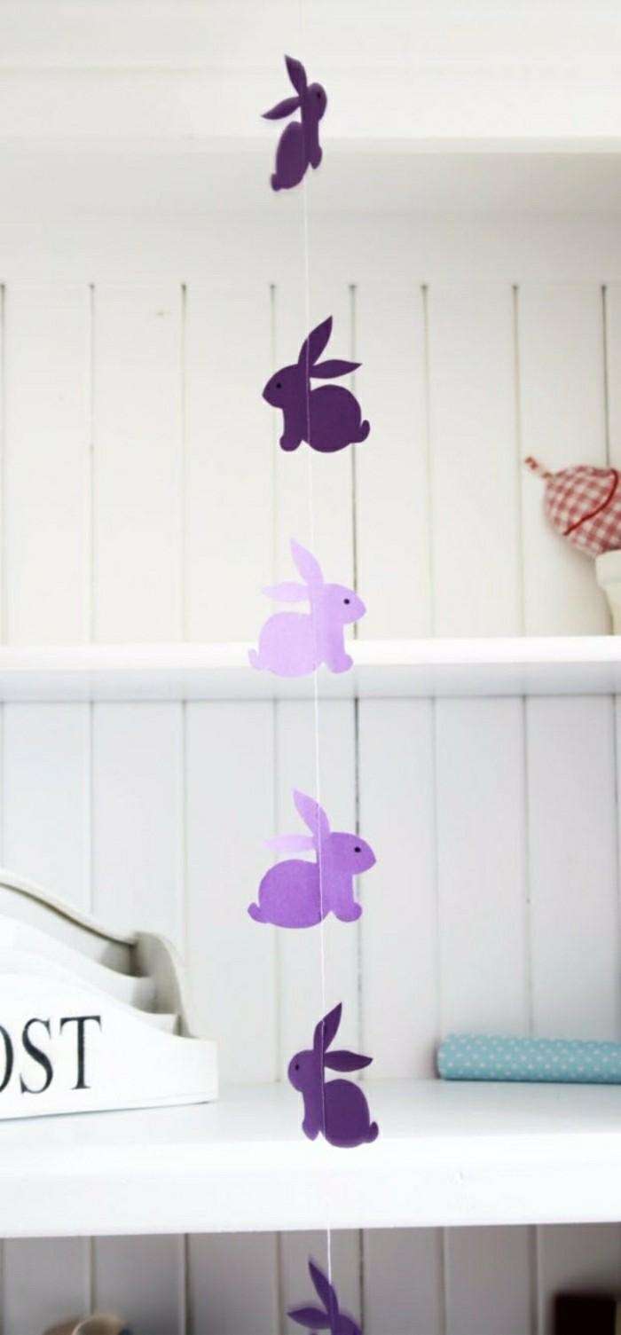 basteln mit kindern ostern osterdekoration basteln hasegirlande lila papierhasen