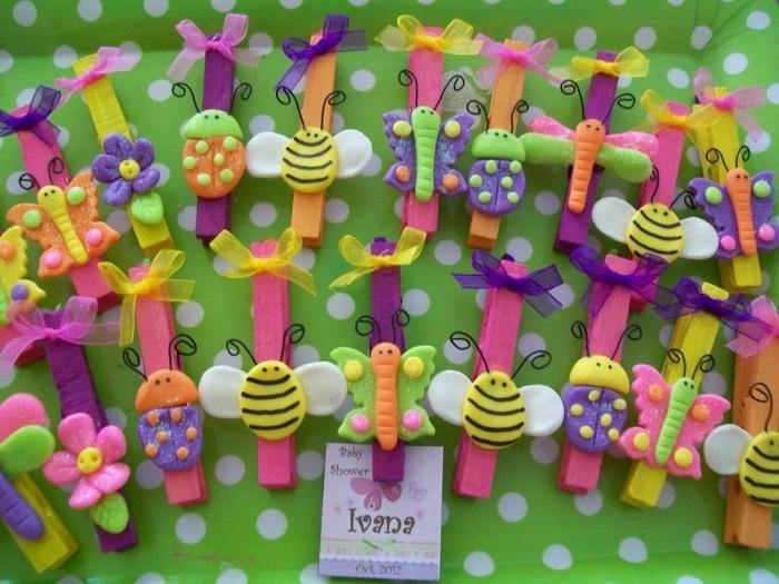 basteln mit waescheklammern fruelingsdeko aus holz selebr machen babyshawer party