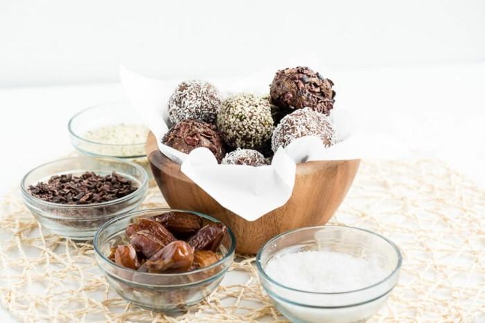 datteln schokolade kokosöl energy balls rezept ideen