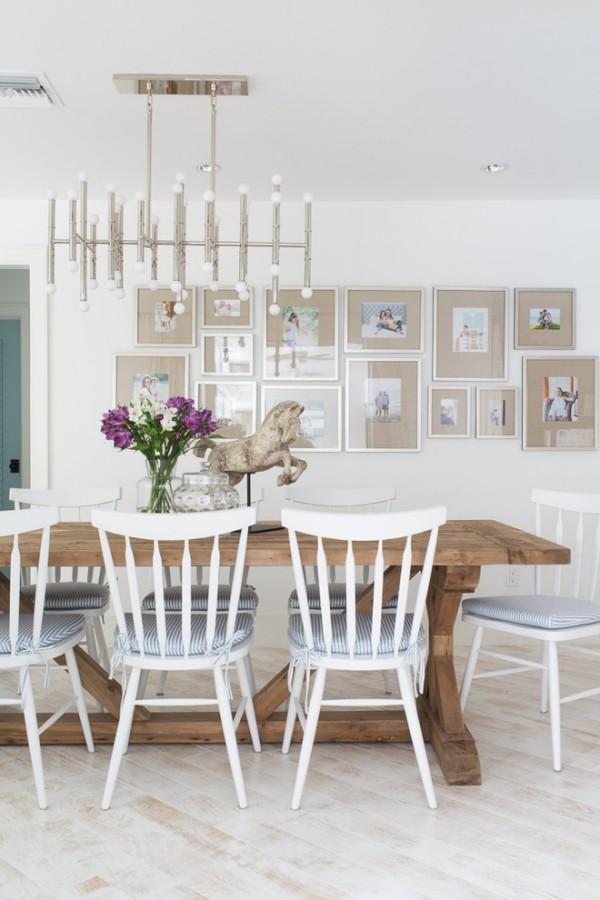 esszimmermöbel holzmöbel rustikaler esstisch weiße stühle