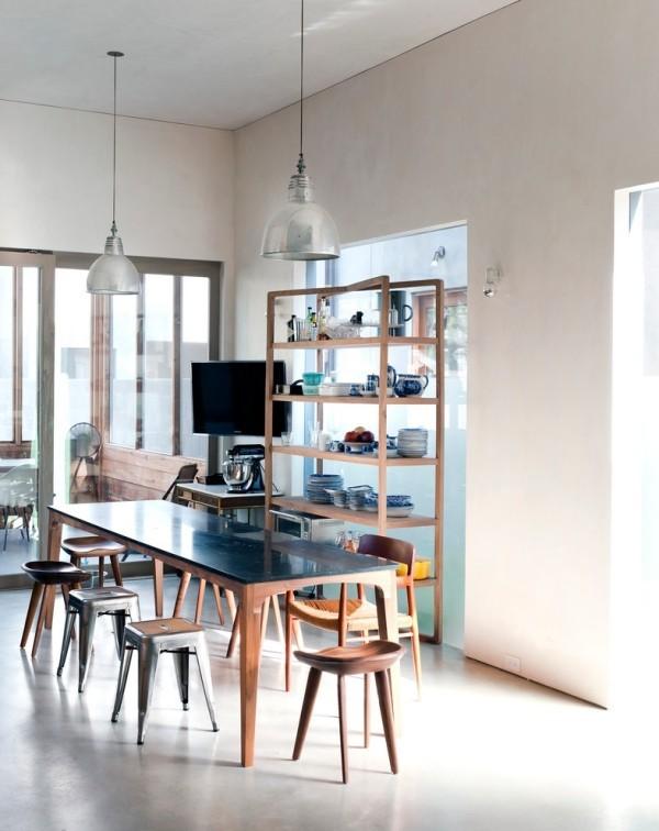 esszimmermöbel industrieller look holztisch unterschiedliche stühle