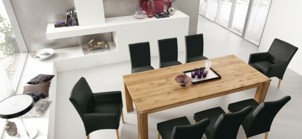 esszimmermöbel moderner holztisch schwarze esszimmerstühle