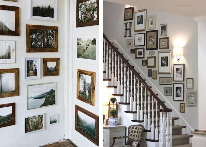 Fotowand selber machen anordnung flur dekorieren