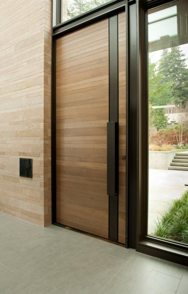 glas und holzeingang moderne fassadengestaltung