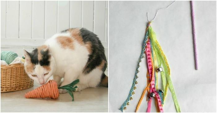 katzenspielzeug basteln mit stoff