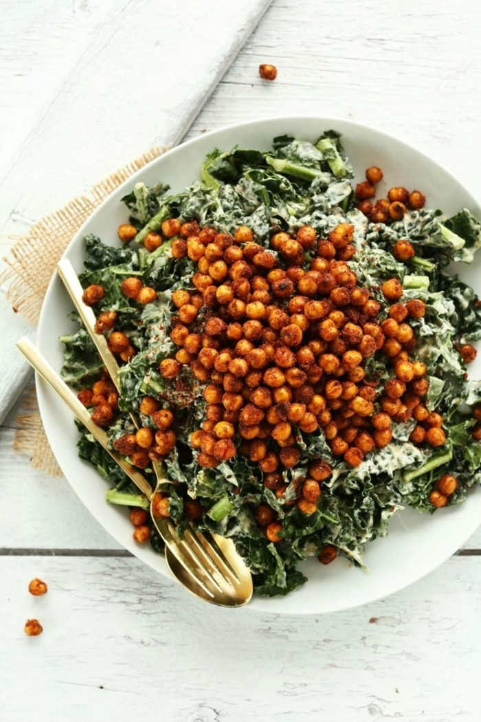 kichererbsen spinat veganes frühstück