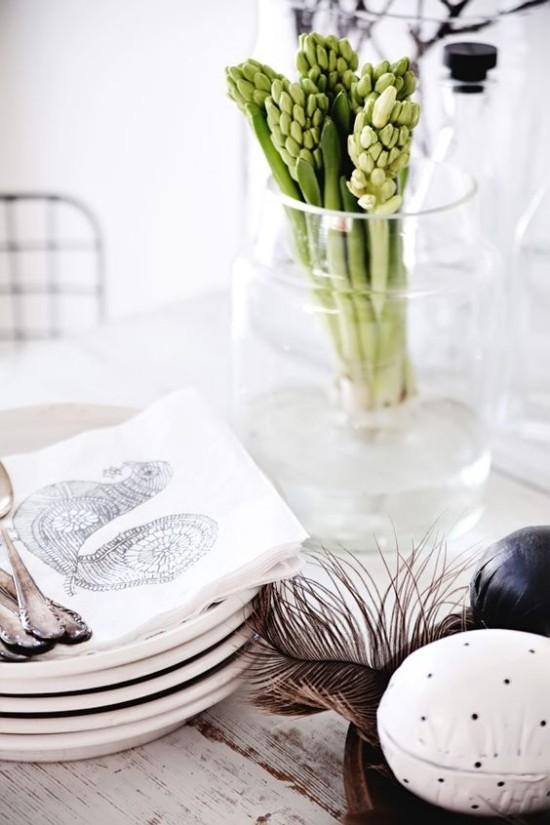 minimalistische Tischdeko Ostereier