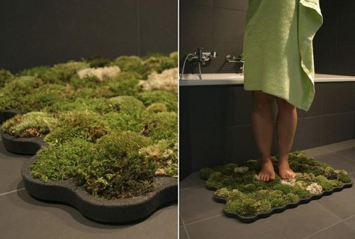 mit moos dekorieren fruelingsdeko naturmaterialien echter moos fussmatte badezimmer gestalten mit moos