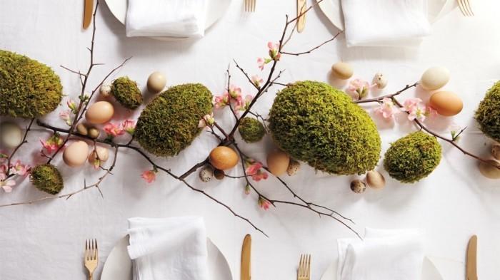 mit moos dekorieren fruelingsdeko naturmaterialien tischdeko moos