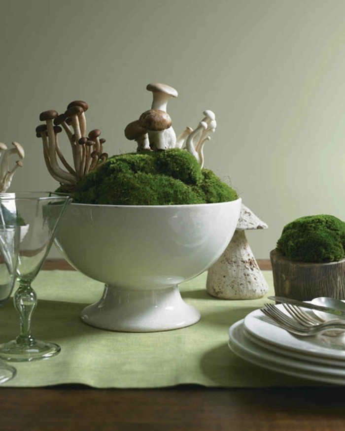 mit moos dekorieren fruelingsdeko naturmaterialien tischdeko gestalten mit moos