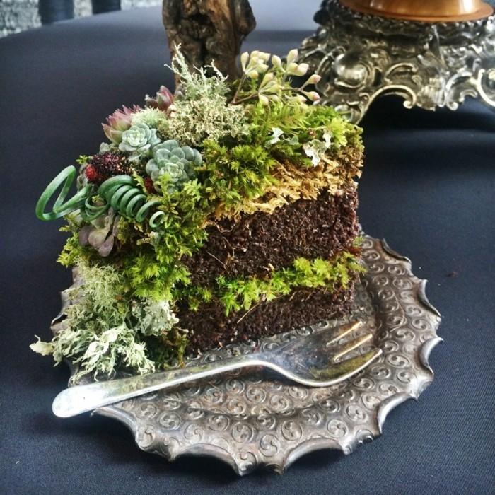mit moos dekorieren fruelingsdeko naturmaterialien torte gestalten mit moos