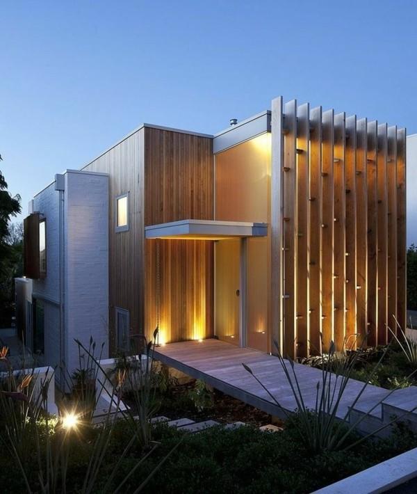 moderne fassadengestaltung beleuchteter eingang