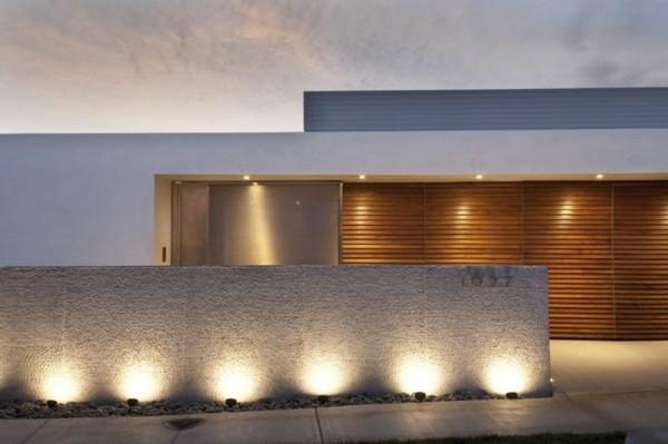 moderne fassadengestaltung bodenbeleuchtung