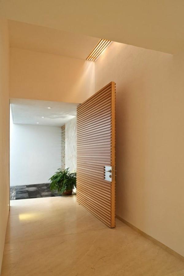 moderne fassadengestaltung braune tür
